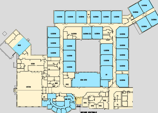 A rendering shows areas to be improved under a proposal to upgrade Bobby's Run Elementary School and other facilities in the Lumberton district.
