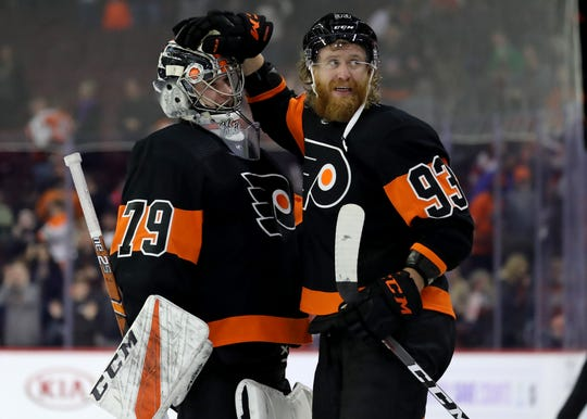 Goalie Carter Hart, left, and Jake Voracek are out injured as well as Nolan Patrick. This weekend the Flyers may get Voracek and Patrick back.