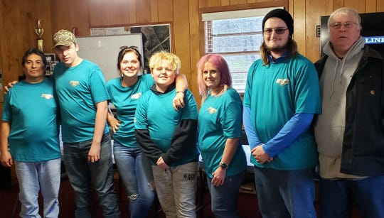 Members and coaches of the Ross County Steel Ringers, left to right: Este Moraleja, Casey Bethel, Paige Wilson, Ayden Wilson, Annette Moraleja, Wyatt Torchick, and Dr. David Muckler.