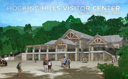A rendering of the new visitors center being built for Old Man's Cave in Hocking Hills State Park provided when the project was announced shows an expected opening of winter 2018. Between delays and default of the contractor, Palmetto Construction, it may be ready in late April 2019.