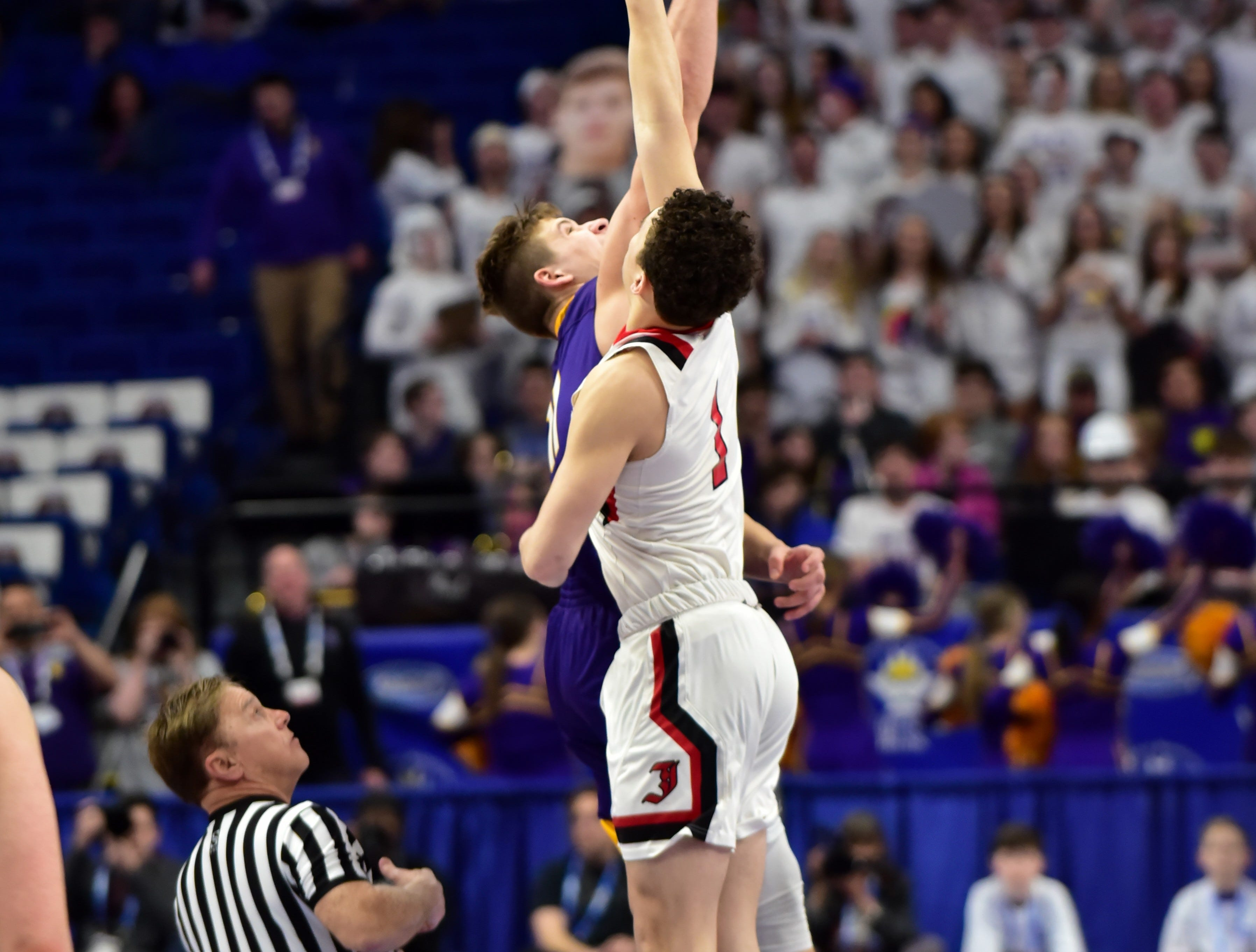 Campbell County tips of with John Hardin in the first round of action at the KHSAA Sweet 16 Tournament at Rupp Arena in Lexington, KY, March 6, 2019