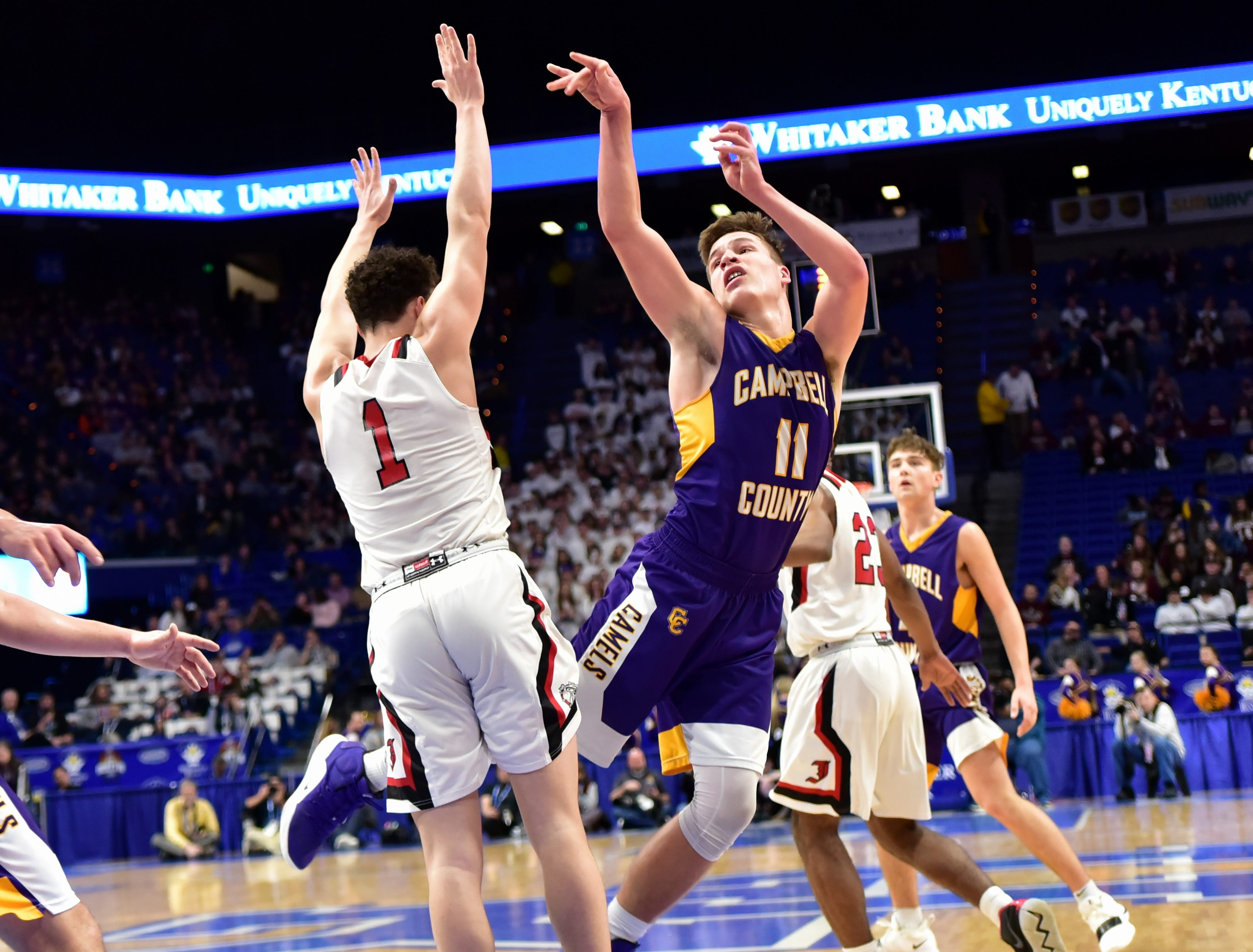 Reid Jolly (11) collects one of many trips to the foul line for Campbell County at the KHSAA Sweet 16 Tournament at Rupp Arena in Lexington, KY, March 6, 2019
