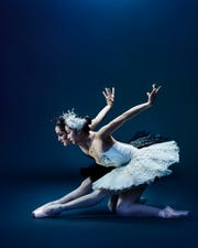 "Samantha Griffin (L) and Sirui Liu are seen in a promotional image of ""Swan Lake."""