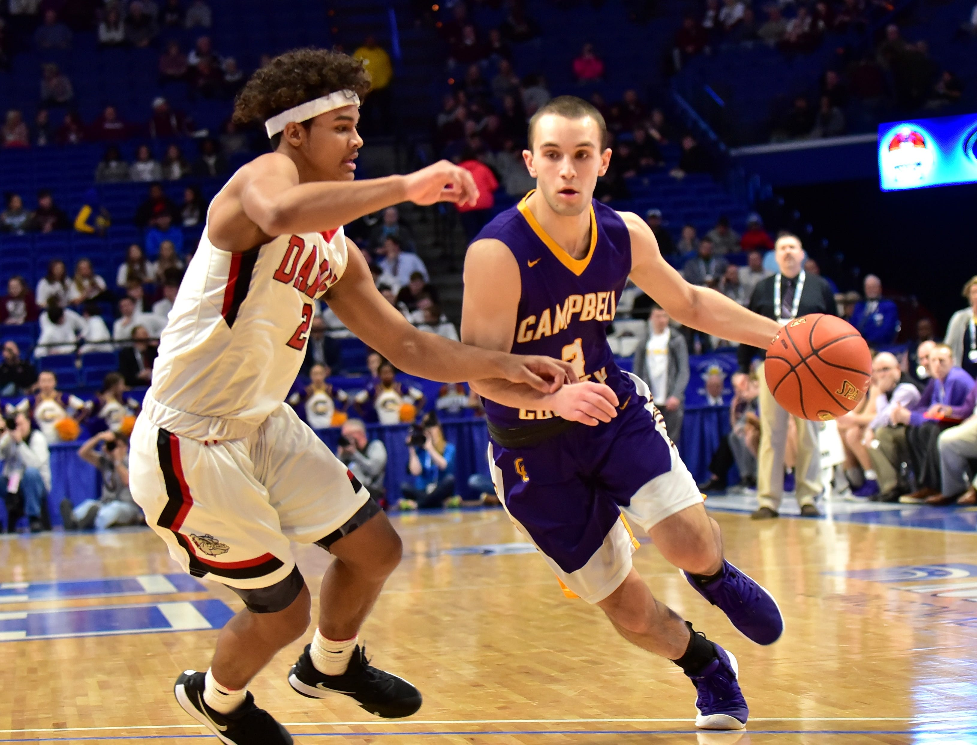 Noah Wirth (3) of Campbell County pushes past a John Hardin defender at the KHSAA Sweet 16 Tournament at Rupp Arena in Lexington, KY, March 6, 2019