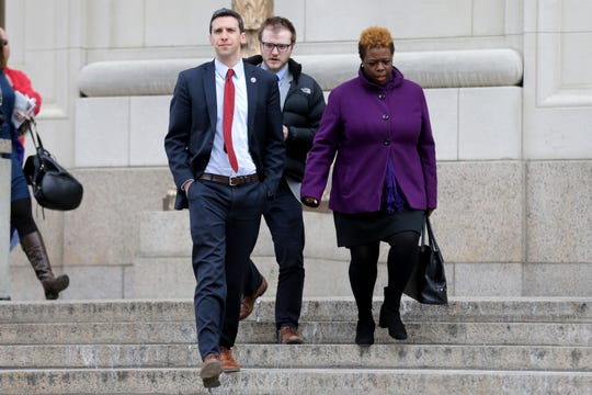 Cincinnati City Council member P.G. Sittenfeld walks out of the Hamilton County Courthouse following a hearing for a proposed settlement in the lawsuit involving secret texts and email, Thursday, March 7, 2019, in Judge Robert Ruehlman's courtroom in Cincinnati.