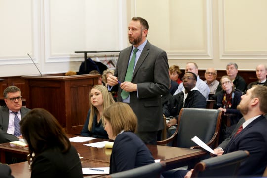 Attorney Brian Shrive, who along with his his client, activist Mark Miller, sought texts among Cincinnati City council members, addresses the court during a hearing for a proposed settlement in the lawsuit involving secret texts and email, Thursday, March 7, 2019, in Judge Robert Ruehlman's courtroom in Cincinnati.