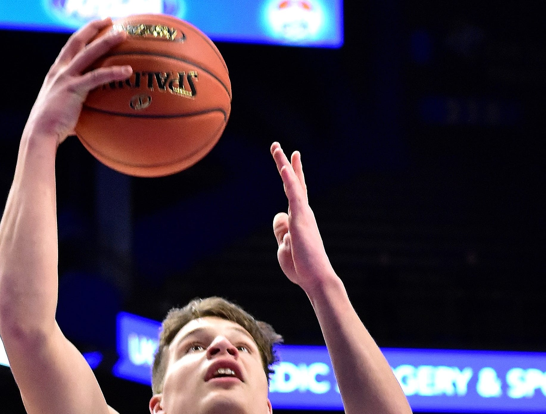 Reid Jolly finds his way to the hoop for Campbell County in their win over John Hardin at the KHSAA Sweet 16 Tournament at Rupp Arena in Lexington, KY, March 6, 2019