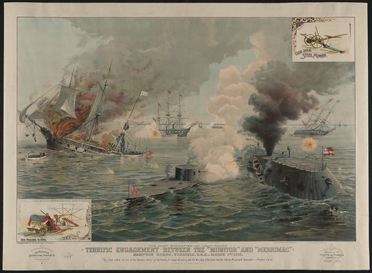 """On March 9, 1862, the ironclads """"Monitor"""" and """"Merrimac"""" clashed for the first time."""