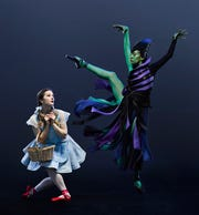 "Cincinnati Ballet dancers Melissa Gelfin (L) and Maizyalet Velázquez are seen in a promotional photo for choreographer Septime Webre's ""The Wizard of Oz."""