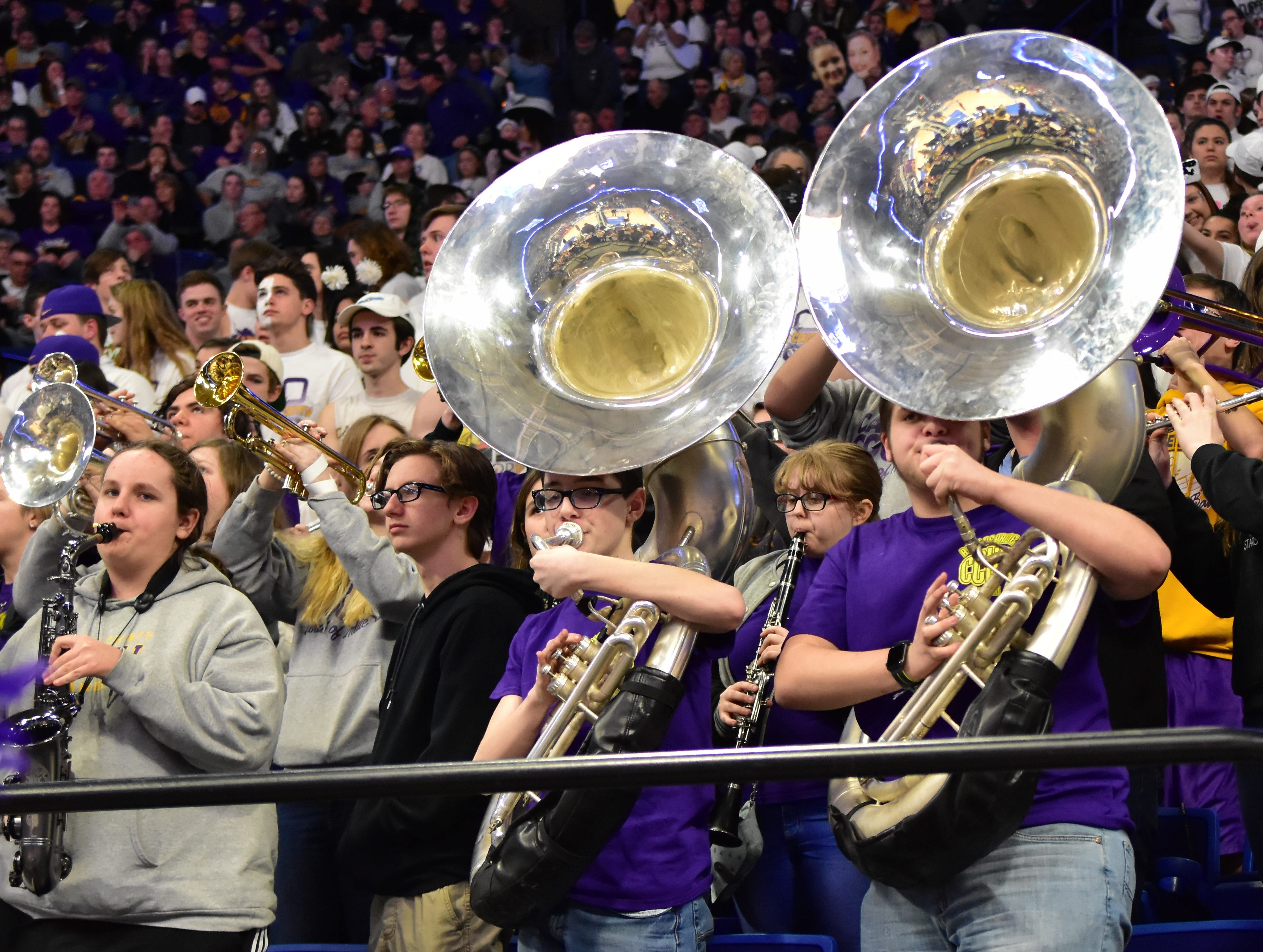 The Campbell County band plays in jubilation as the Camels advance to the quarterfinals at the KHSAA Sweet 16 Tournament at Rupp Arena in Lexington, KY, March 6, 2019