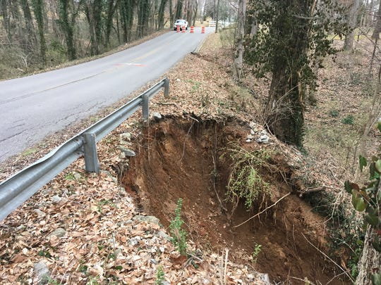Canterbury Road on Thursday, March 7, 2019, after a pipe under the road collapsed.