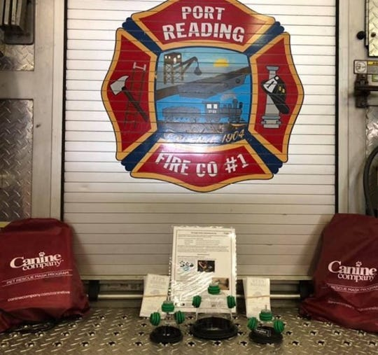 Port Reading Fire Company #1 recently received a donation of two sets of life-saving pet oxygen masks from at-home pet services provider Canine Company.