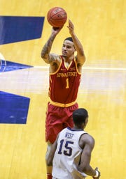 Mar 6, 2019; Morgantown, WV, USA; Iowa State Cyclones guard Nick Weiler-Babb (1) shoots during the second half against the West Virginia Mountaineers at WVU Coliseum.