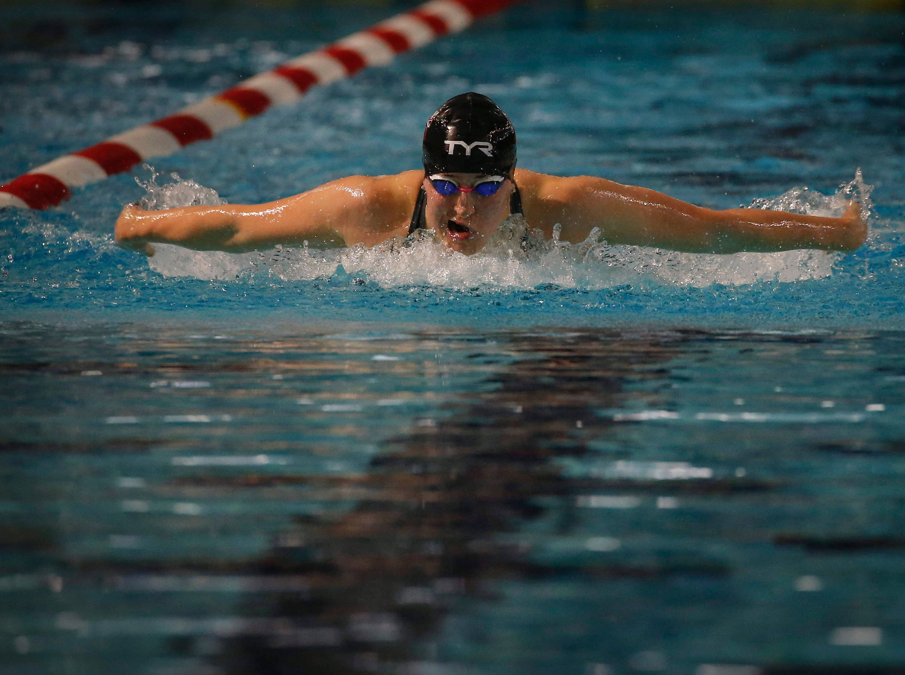 Charlotte Atkinson of Loughborough, England, competes in the 200-meter butterfly during the 2019 TYR Pro Swim Series on Thursday, March 7, 2019, at the downtown YMCA pool in Des Moines.