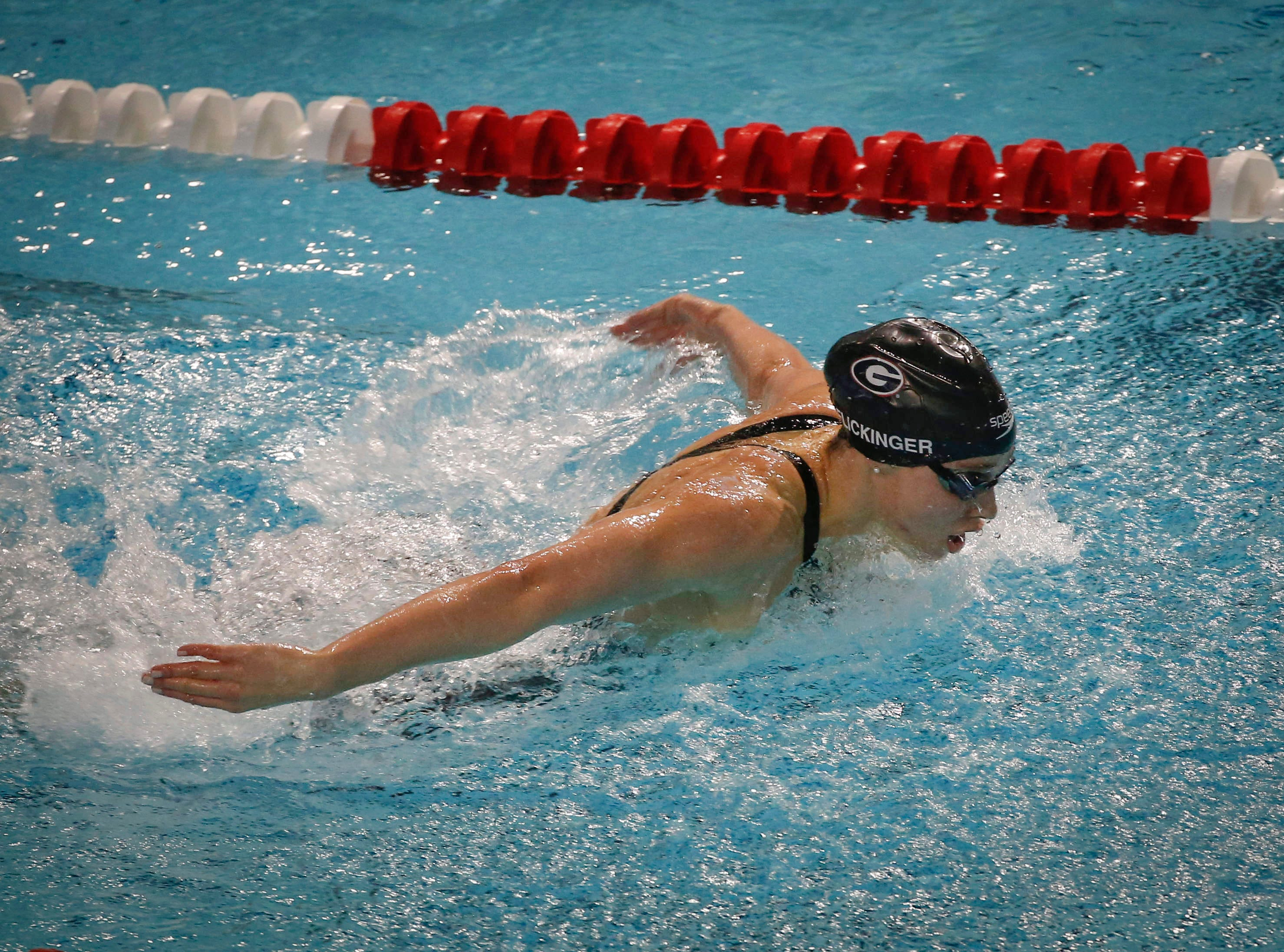 Hali Flickinger of the University of Georgia competes in the 200-meter butterfly during the 2019 TYR Pro Swim Series on Thursday, March 7, 2019, at the downtown YMCA pool in Des Moines.