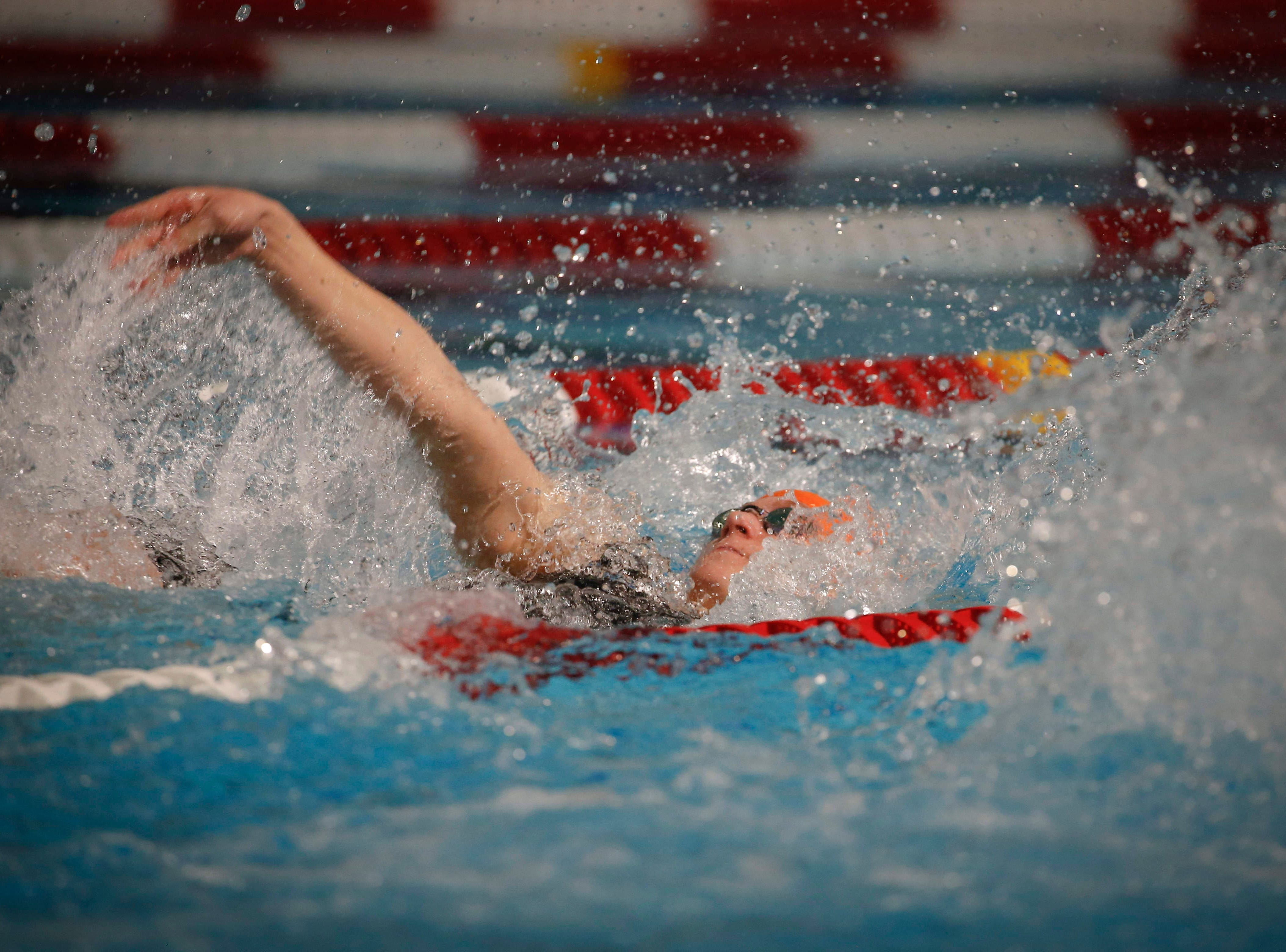 Amy Feddersen of Ames competes in the 50-meter backstroke during the 2019 TYR Pro Swim Series on Thursday, March 7, 2019, at the downtown YMCA pool in Des Moines.