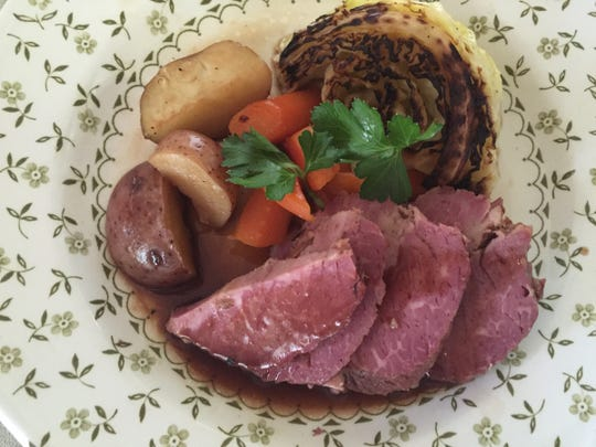 Guiness-braised Corned Beef with Cabbage, Potatoes and Carrots