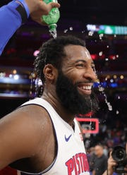 Detroit Pistons center Andre Drummond is all smiles after the 131-114 win against the Minnesota Timberwolves  Wednesday, March 6, 2019 at Little Caesars Arena in Detroit, Mich.
