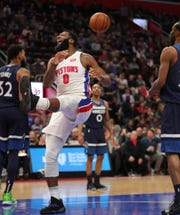 Detroit Pistons center Andre Drummond reacts during second period action against the Minnesota Timberwolves Wednesday, March 6, 2019 at Little Caesars Arena in Detroit, Mich.