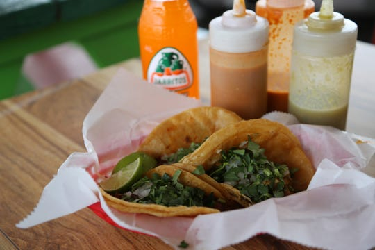 Tacos from Taqueria San Jose, a cash-only taqueria in a former drive-in restaurant in Grand Rapids.