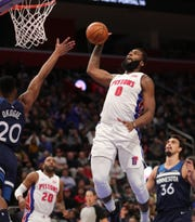 Detroit Pistons center Andre Drummond scores against the Minnesota Timberwolves during second period action Wednesday, March 6, 2019 at Little Caesars Arena in Detroit, Mich.