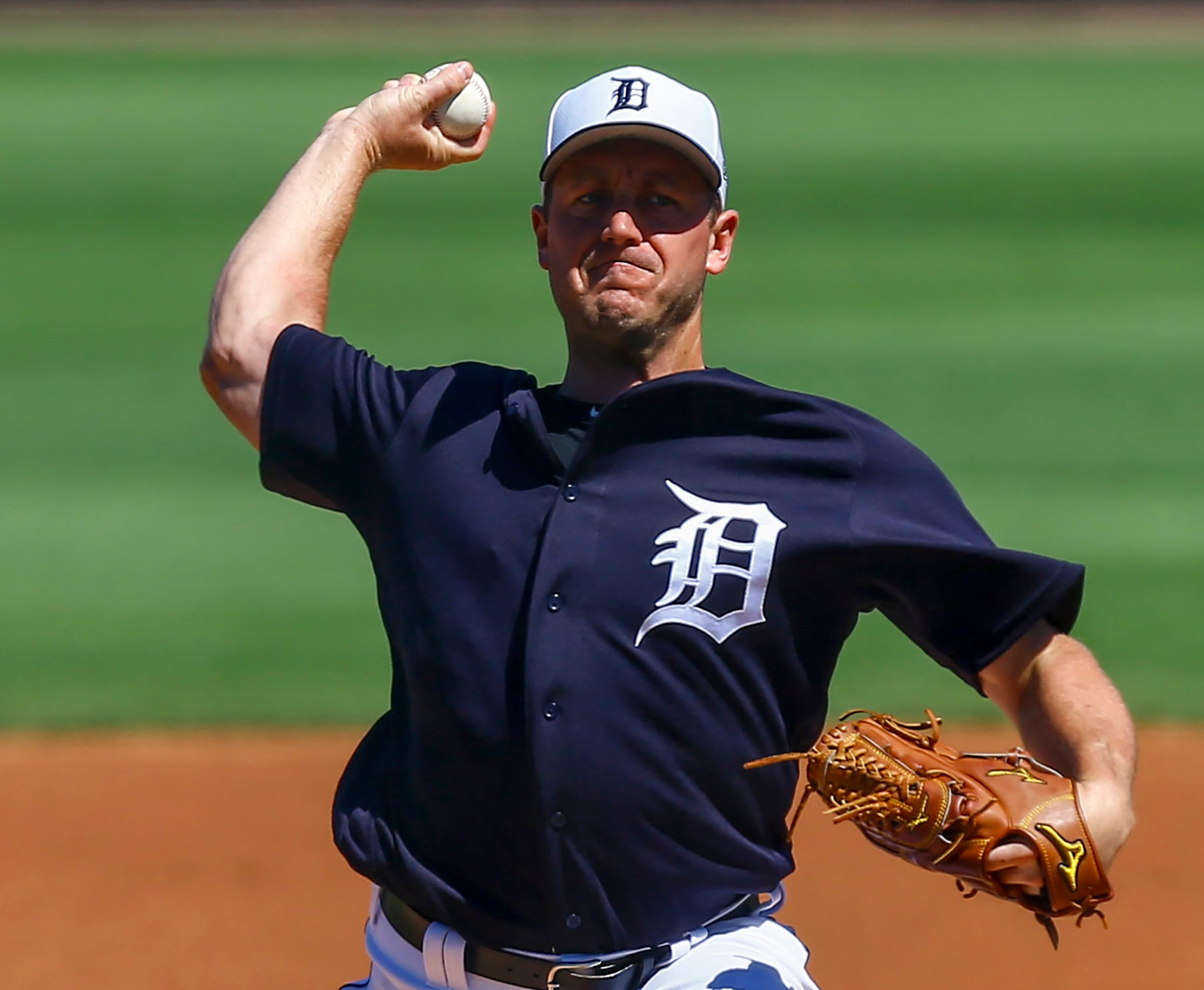 Tigers pitcher Jordan Zimmermann throws a pitch during the first inning of the Tigers' 3-1 exhibition loss to the Phillies at Publix Field at Joker Marchant Stadium on Thursday, March 7, 2019.
