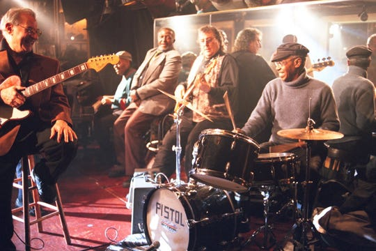 """Funk Brothers Joe Messina, Johnny Griffith, Joe Hunter, Bob Babbitt and Richard """"Pistol"""" Allen perform at Baker's Keyboard Lounge in """"Standing in the Shadows of Motown."""""""