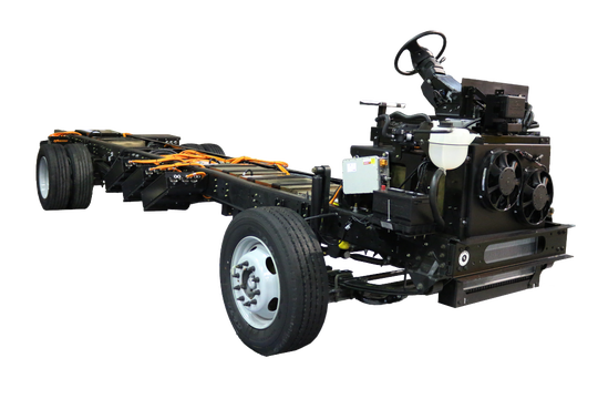 Detroit Custom Chassis installs powertrains and controls from Motiv Power Systems in Ford F-59 truck frames for electric commercial vehicles.