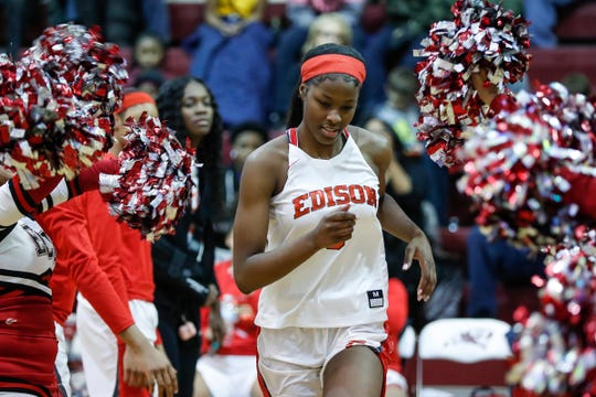 Detroit Edison's Rickea Jackson (5) is being introduced during the first half of the district semifinal against Chandler Park at Harper Woods High School in Harper Woods, Wednesday, March 6, 2019.