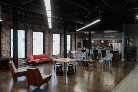 Lounge area in the Skypoint Ventures floor of the Dryden Building in downtown Flint are seen on Wednesday, February 27, 2019.