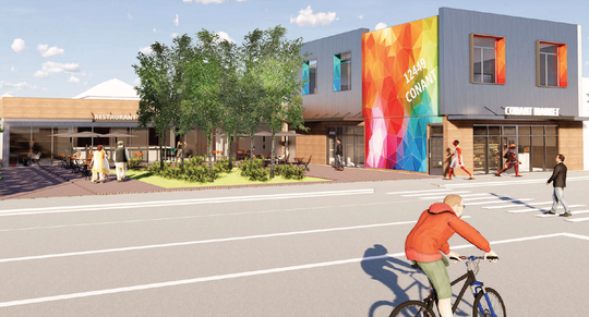 A rendering of a revamped building at 12449 Conant St. shows the possibility for rehabilitation and new construction.
