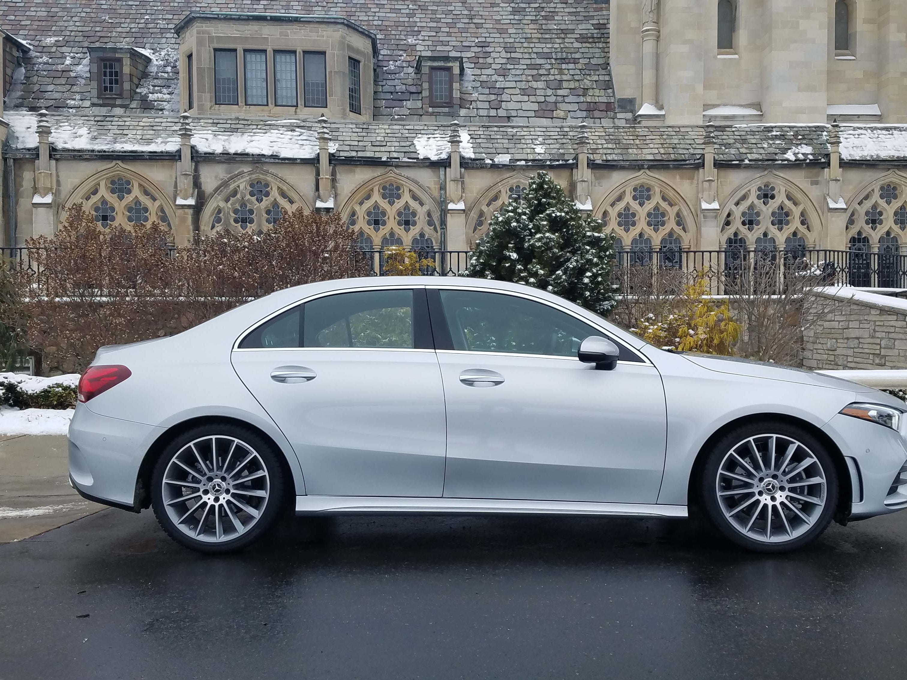 The Mercedes A220 design (seen here)  is more conservative that the CLA coupe sedan — which will still be offered alongside the A220, but at a higher price tag to account for its sexy looks.