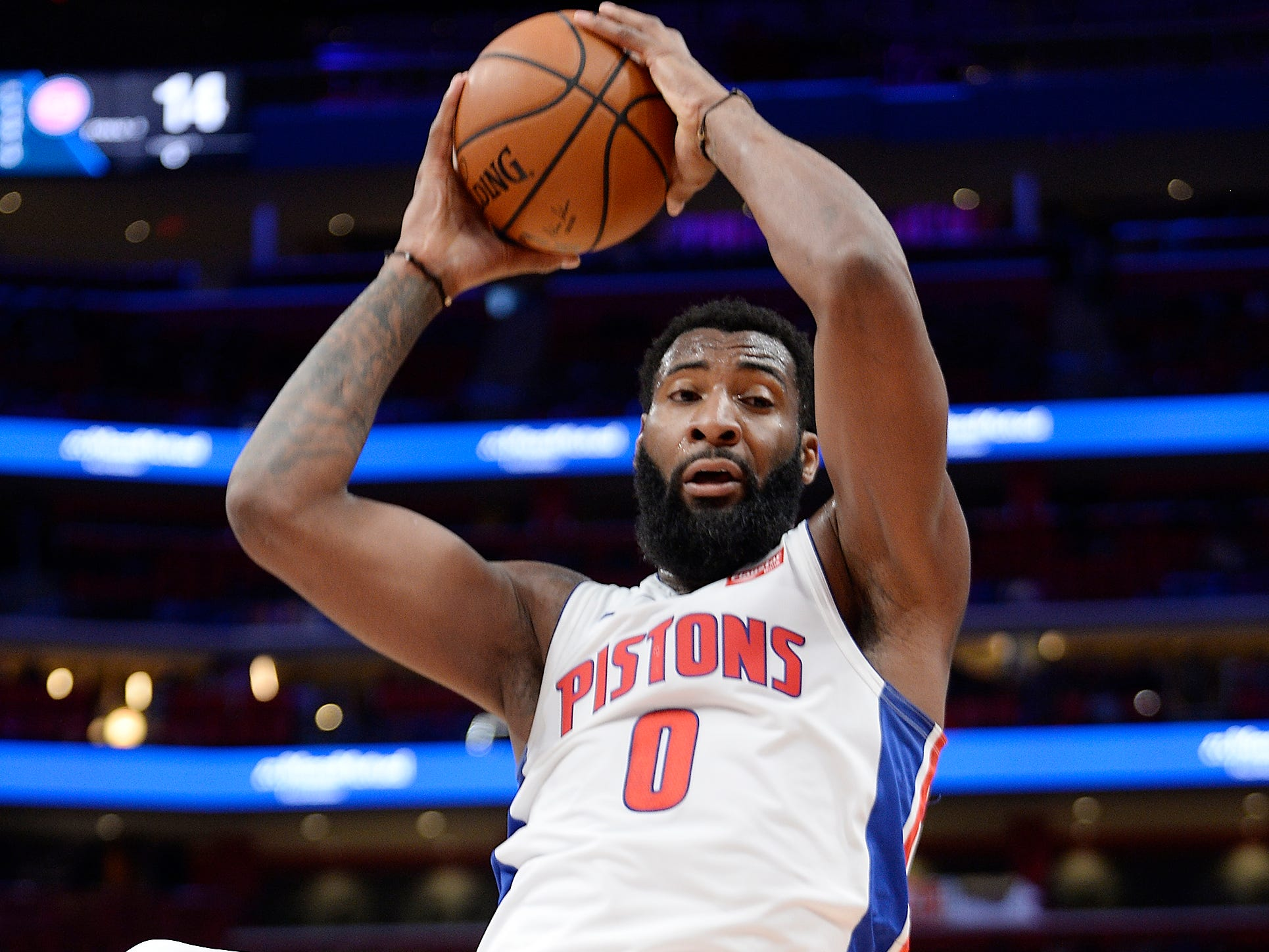 Pistons' Andre Drummond grabs a rebound in the second quarter.