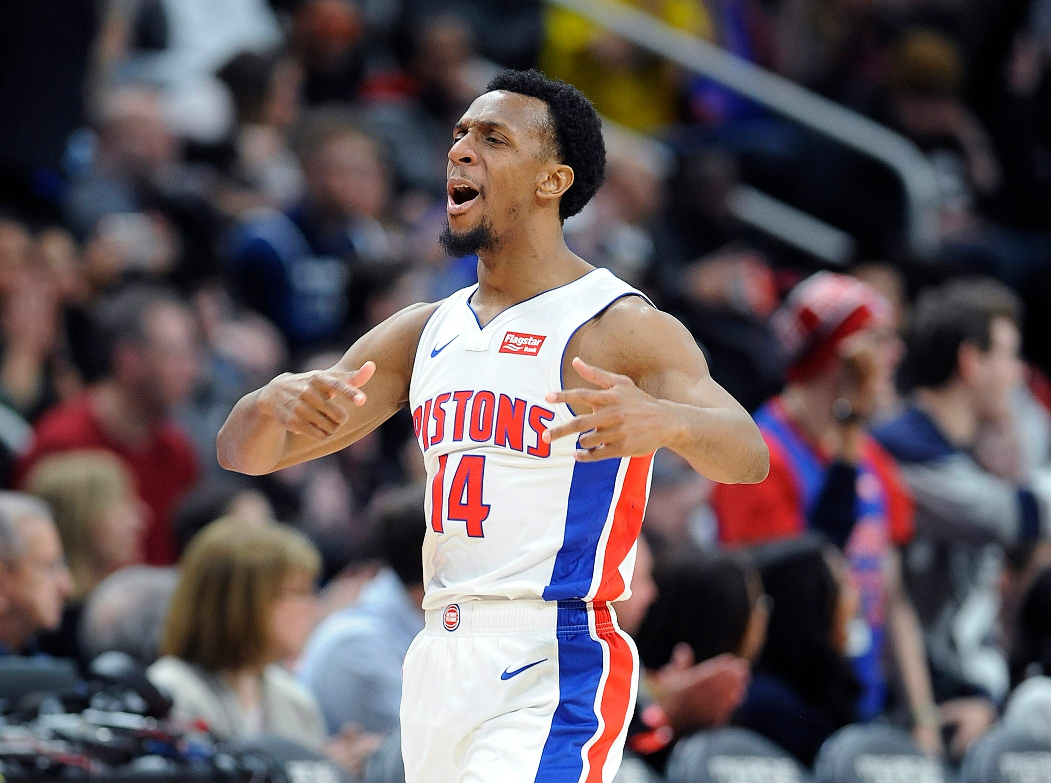 Pistons' Ish Smith celebrate after a basket in the fourth quarter. Smith had 19 points and 5 assist.