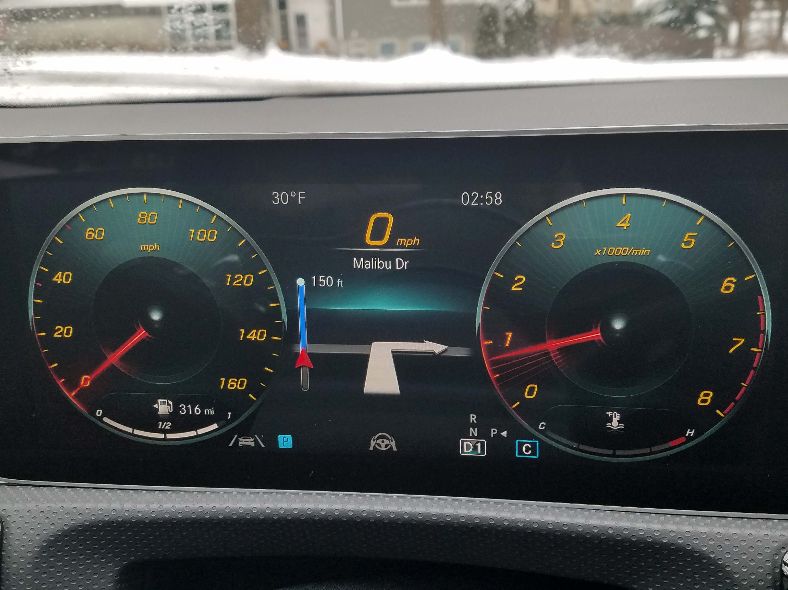 The digital instrument cluster of the Mercedes A220 shares a horizontal panel with the infotainment display, and is both configurable and easy to navigate.