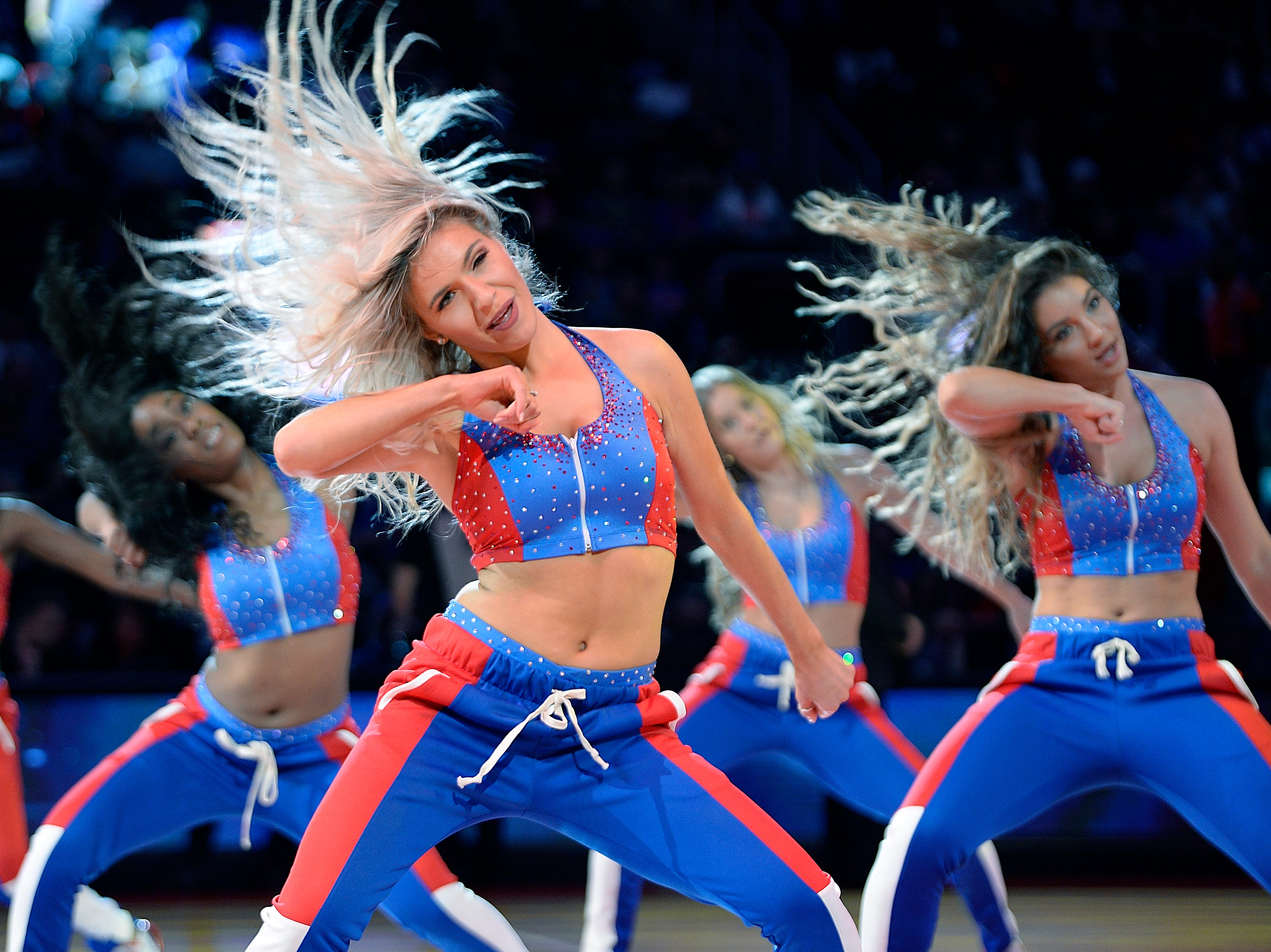 Pistons Dancers performs in the third quarter.