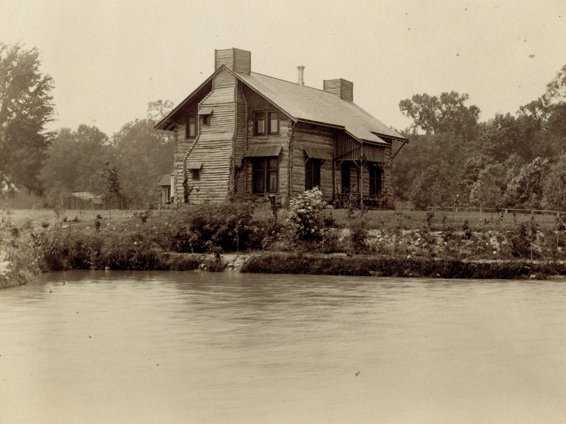 This two-story log cabin in Detroit's Palmer Park is seen in 1887, two years after it was built for Sen. Thomas Palmer and his wife, Lizzie. It is the only historic log cabin preserved in its original state in the city.