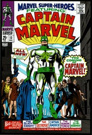 "Marvel's first Captain Marvel, Captain Mar-Vell of the Kree, debuted in 1967 in ""Marvel Super-Heroes"" #12. Cover art by Gene Colan. (Marvel Entertainment Inc./TNS)"