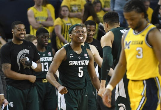 Michigan State point guard Cassius Winston had 27 points and eight assists in the first meeting against Michigan.