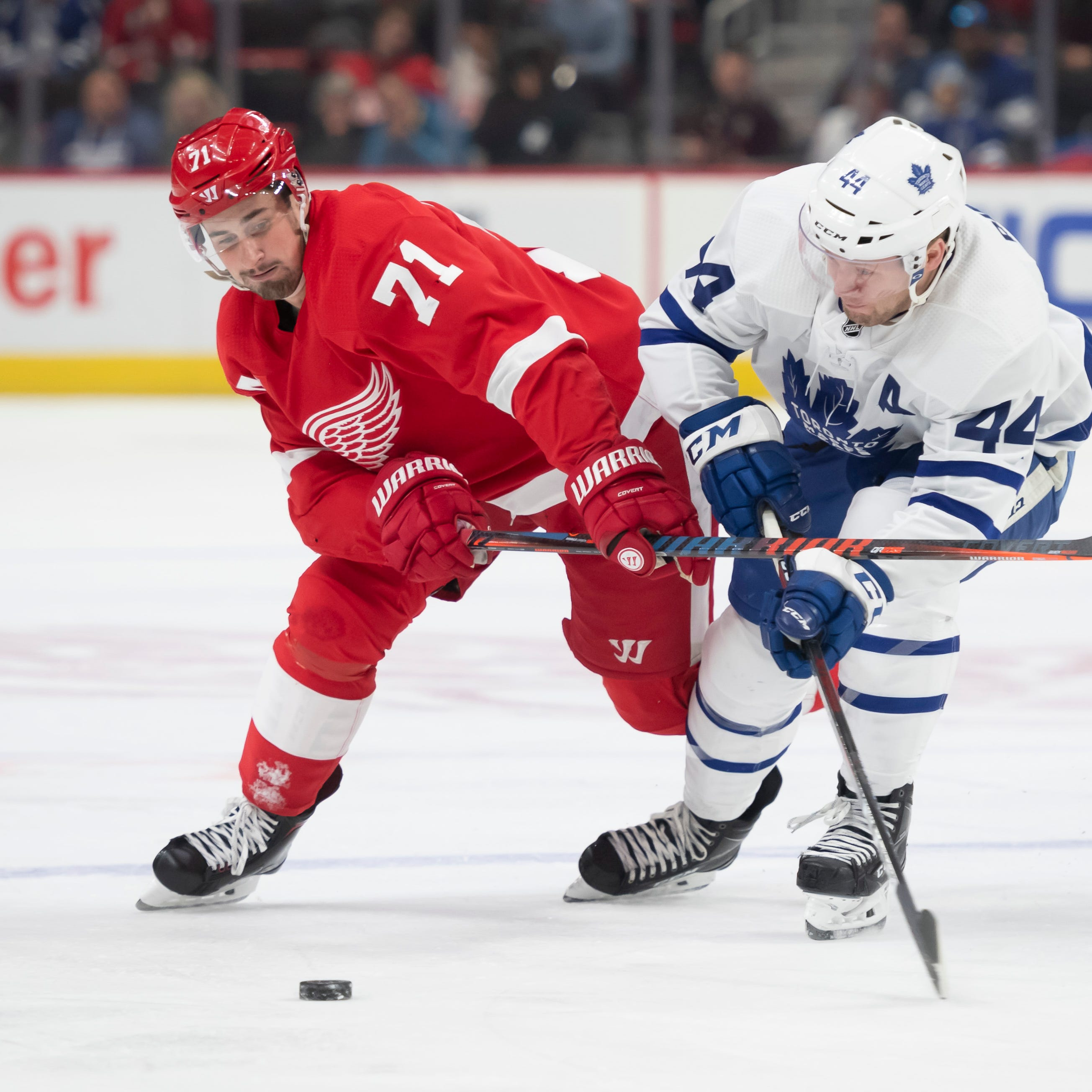Dylan Larkin out vs. Rangers with back problem; Mike Green done for season