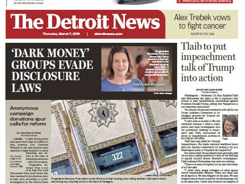 Front page of The Detroit News on Thursday, March 7, 2019.