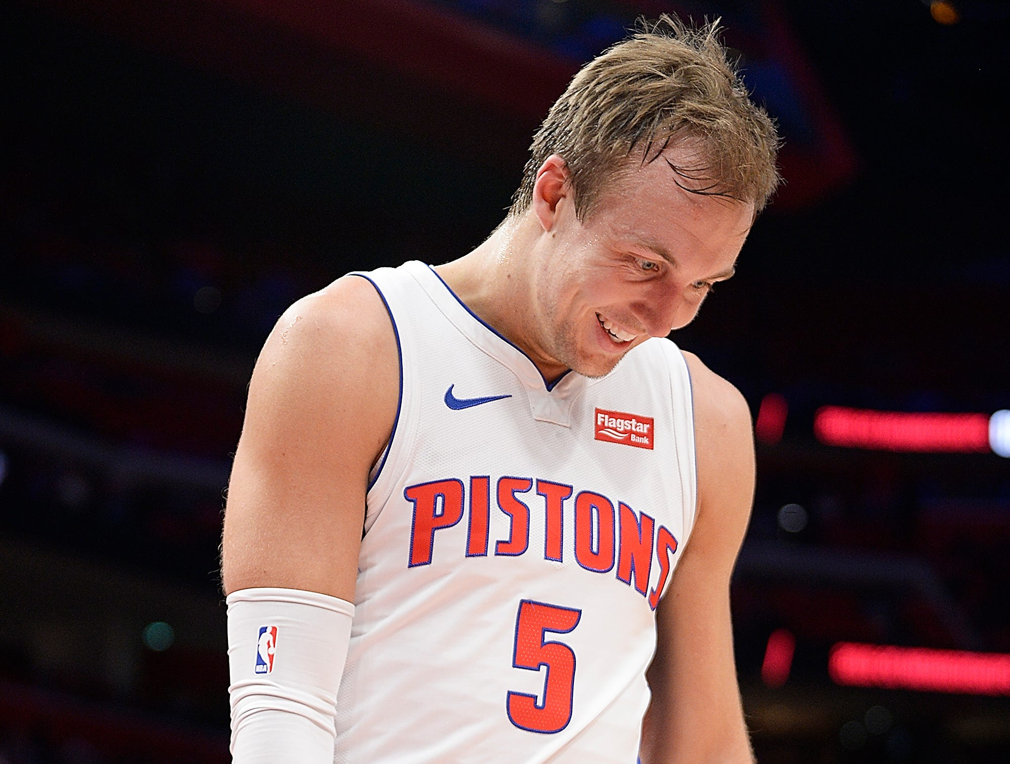Pistons' Luke Kennard celebrates after making a basket in the second quarter.
