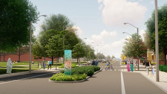 This rendering of Conant Street at Lawley Avenue shows a revamped streetscape with islands at bump-outs to make crossing the street safer.