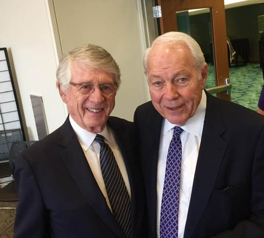 From left, Iconic anchor men Ted Koppel and Mort Crim eulogize colleague, Steve Bell.