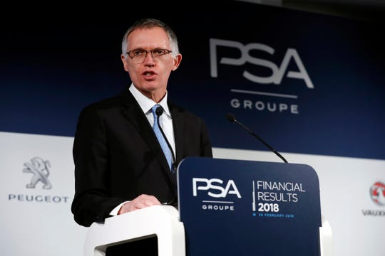 Carlos Tavares, CEO of Peugeot and Citroën's parent Groupe PSA SA, delivers full-year financials last month in Paris.