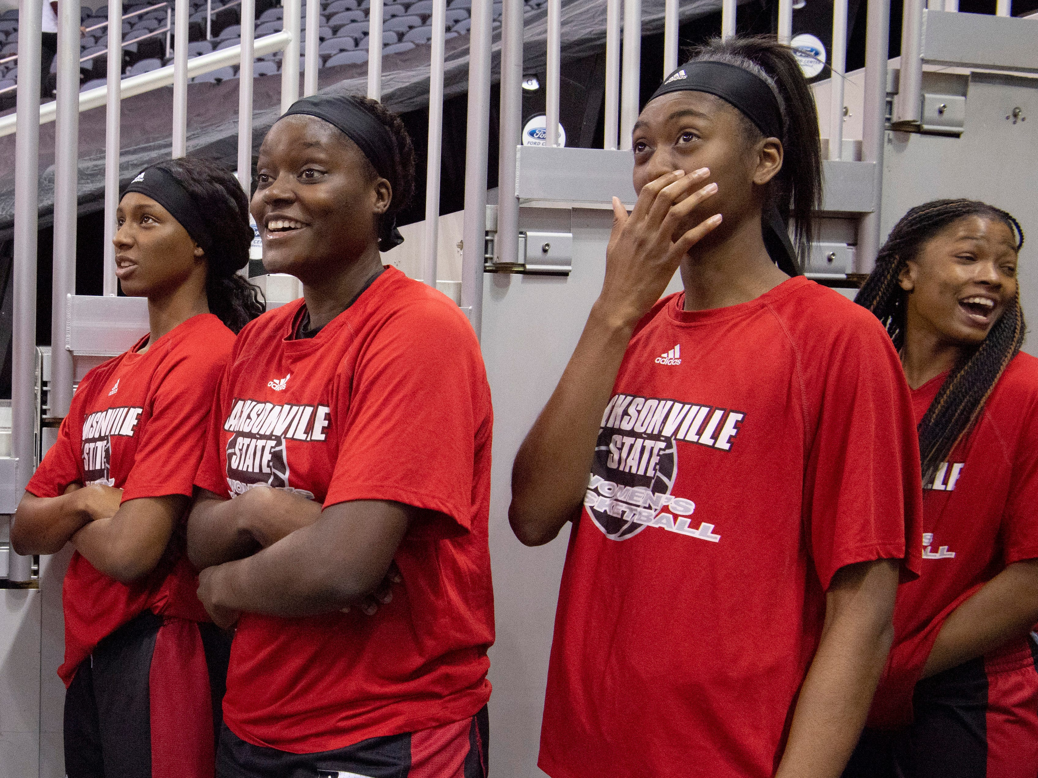 Jacksonville State's team watches an attempted comeback by Southeast Missouri against #1 Belmont at the Ohio Valley Conference Basketball Championships at the Ford Center in Evansville, Ind., Wednesday afternoon.