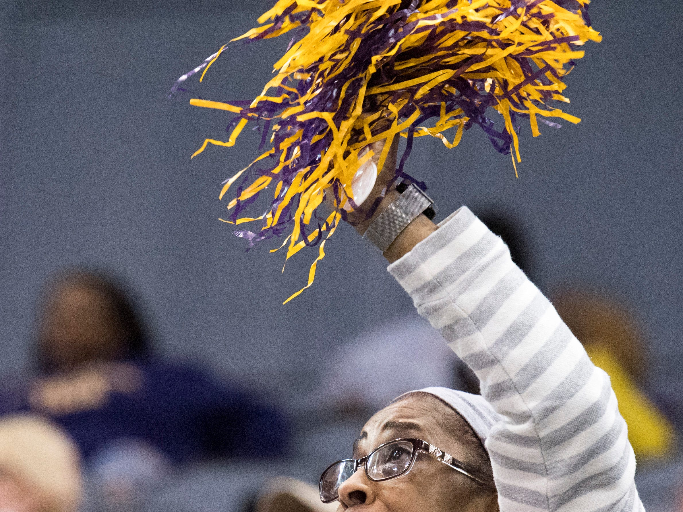 Tennessee Tech super fan Mistie Berry cheers on the Golden Eagles during the Tennessee Tech vs Austin Peay game of the Ohio Valley Conference Tournament at the Ford Center in Evansville, Ind., Thursday, March 7, 2019.