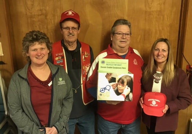 March is Eye Donor Awareness Month. Promoting this initiative are Marblehead Peninsula Lions, left to right, Heidi Gast, John Englebeck, Tod Kelly and Jane Danchisen Pittman.