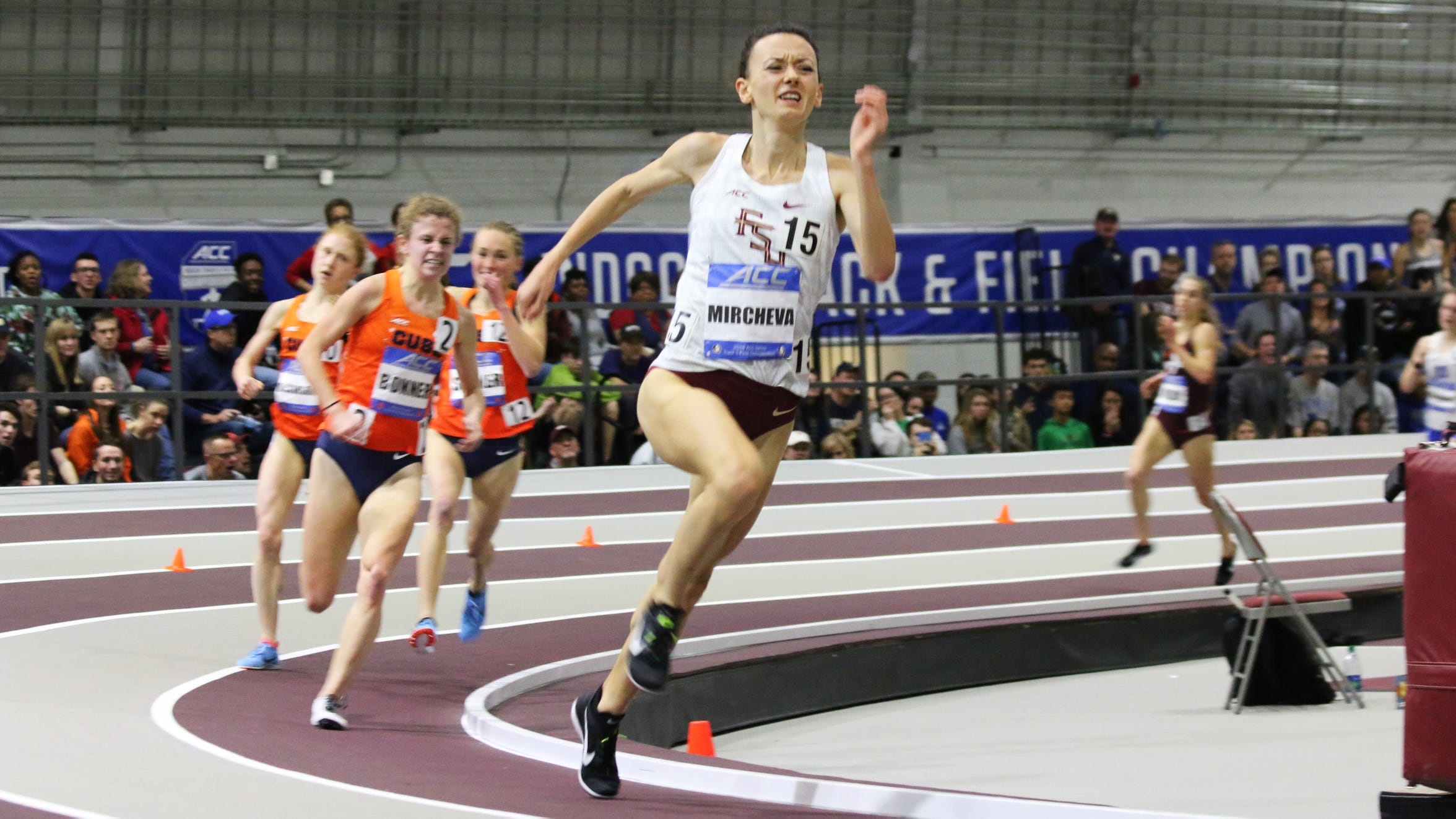 Militsa Mircheva's bold final lap move with 150 meters remaining at the ACC Indoor Track & Field Championships moved her from sixth to third, a position she refused to relinquish.