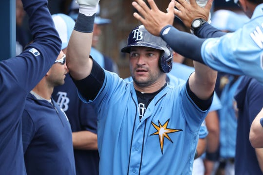 Tampa Bay Rays catcher Mike Zunino is congratulated after he hit a home run during the fifth inning against the New York Yankees at Charlotte Sports Park on Feb. 24.